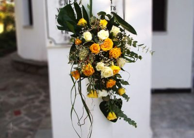 Wedding Candles White and yellow roses